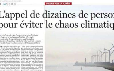 «L'appel de dizaine de personnalités pour éviter le chaos climatique» Le Soir 9-10 décembre 2017